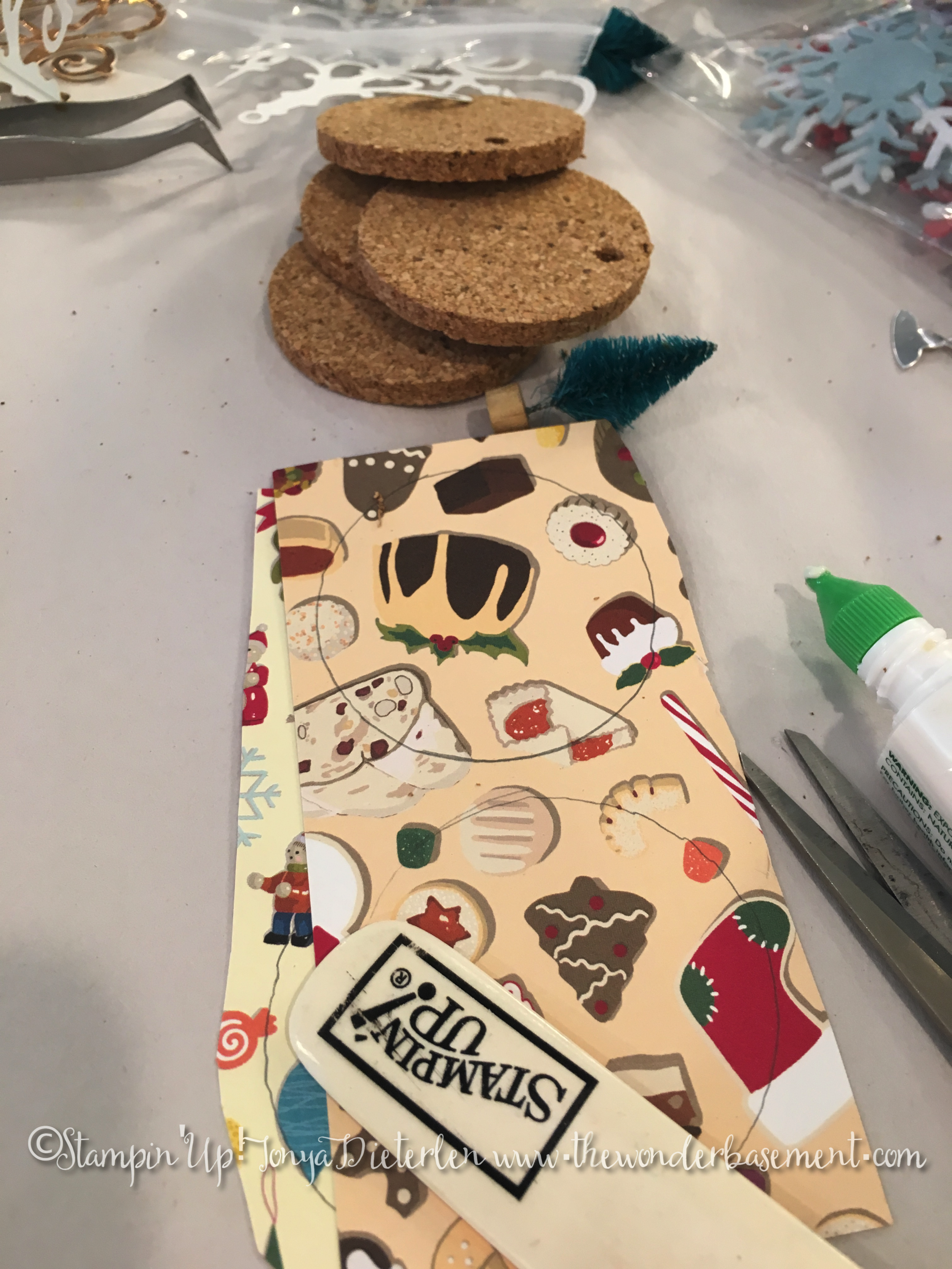 """By the way, Stampin' Up! has a 2"""" hole punch that works marvelously for punching this paper out....I realized this shortly after tracing the cork circles!"""