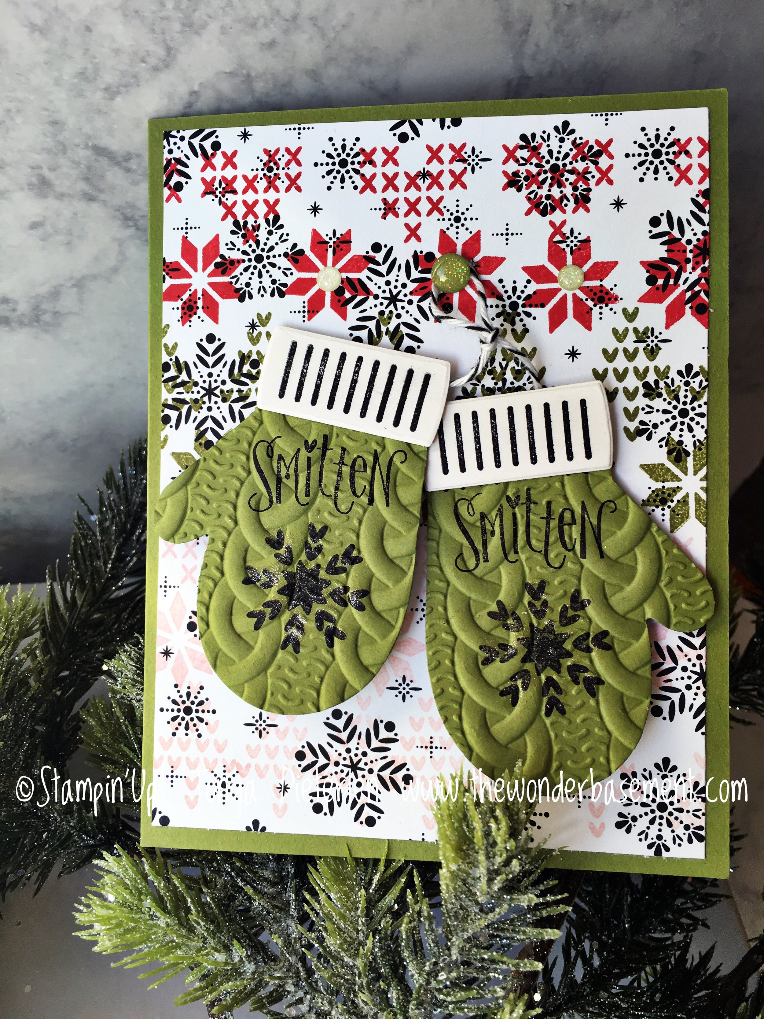 This card was created by starting with the black snowflake designer series paper. Then I stamped the stitched images in real red, old olive, and powder pink. Did you ever thinking of stamping MORE on the printed paper??? Try it, it is fun & looks cute, too.