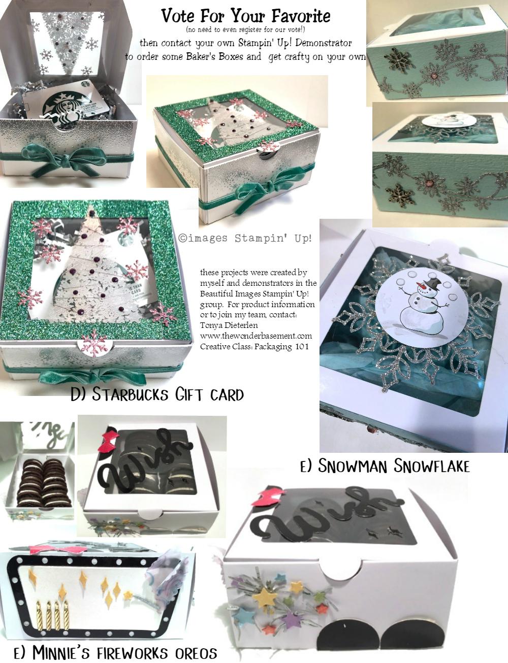 D. Starbucks Gift Card  E. Snowman Snowflake  F.Minnie's Firework Oreos