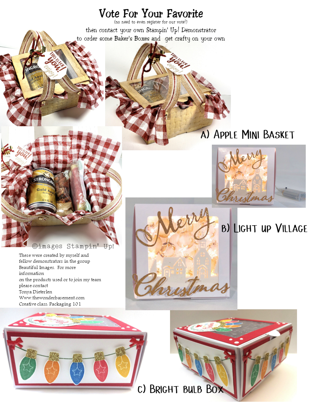 A. Apple Mini Basket  B. Light up Village  C. Bright Bulb Box