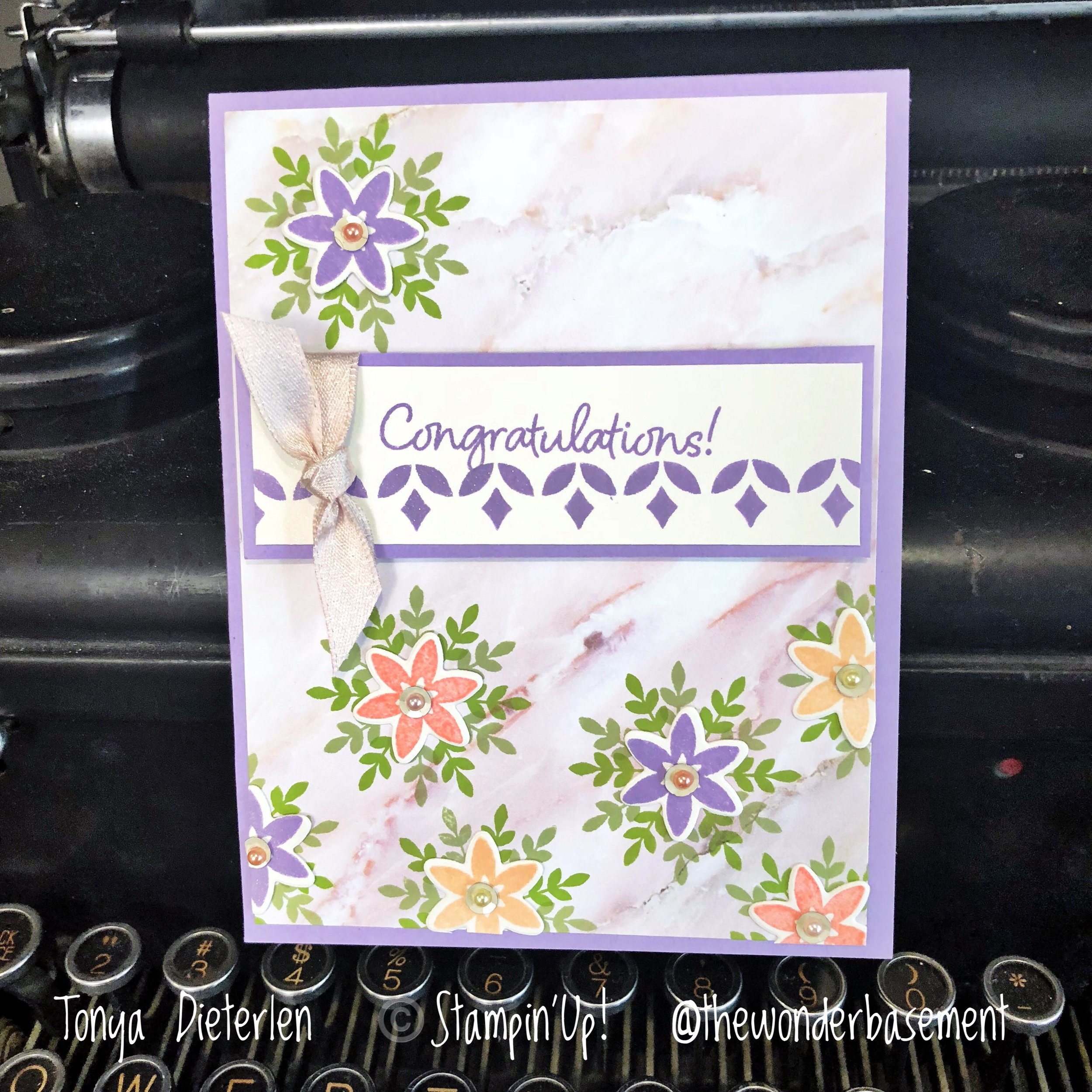 Would you believe a SPRING flower card from a snowflake stamp set?? I didn't until I tried it! I think this set just might get me through the doldrums of the Winter months. And GORGEOUS marble paper!!