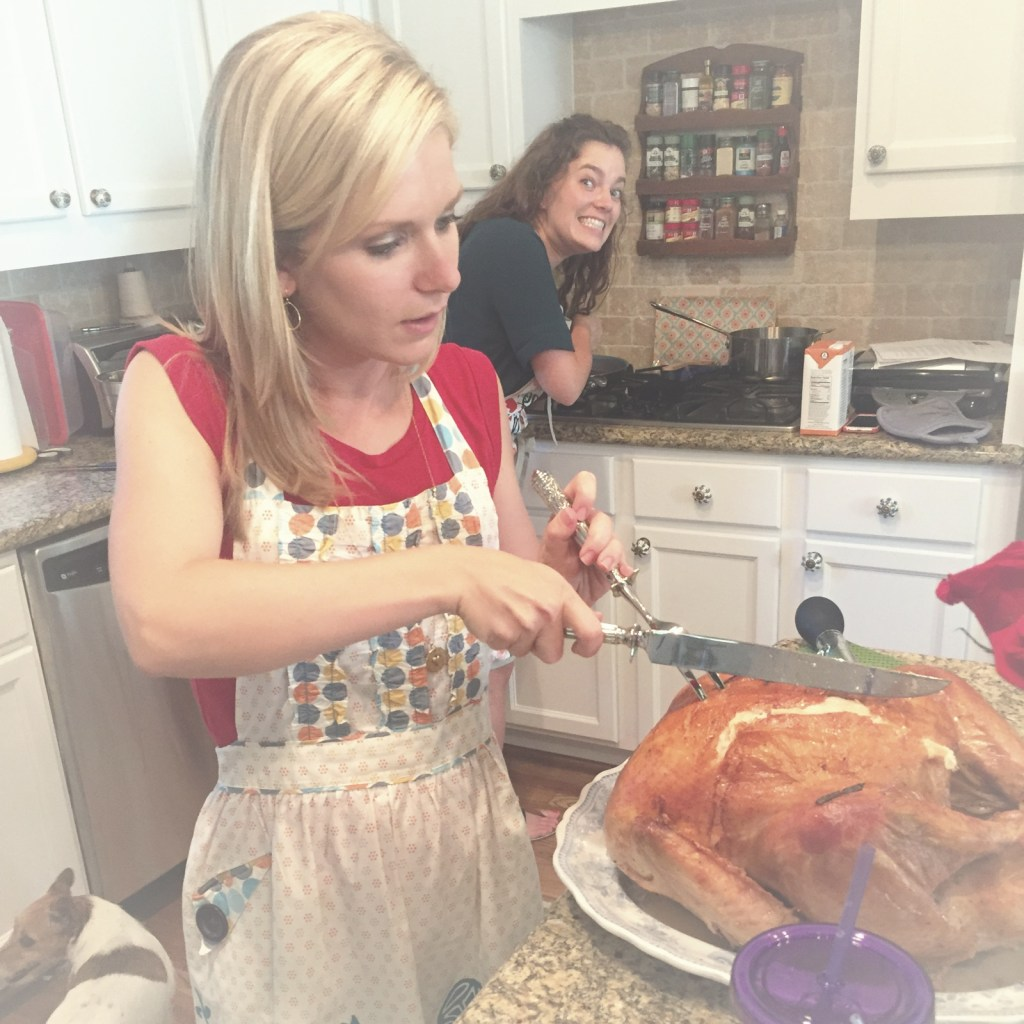 By this time, some people who know about turkeys had arrived, so I had a much-needed carving coach. Thanks, Karen!