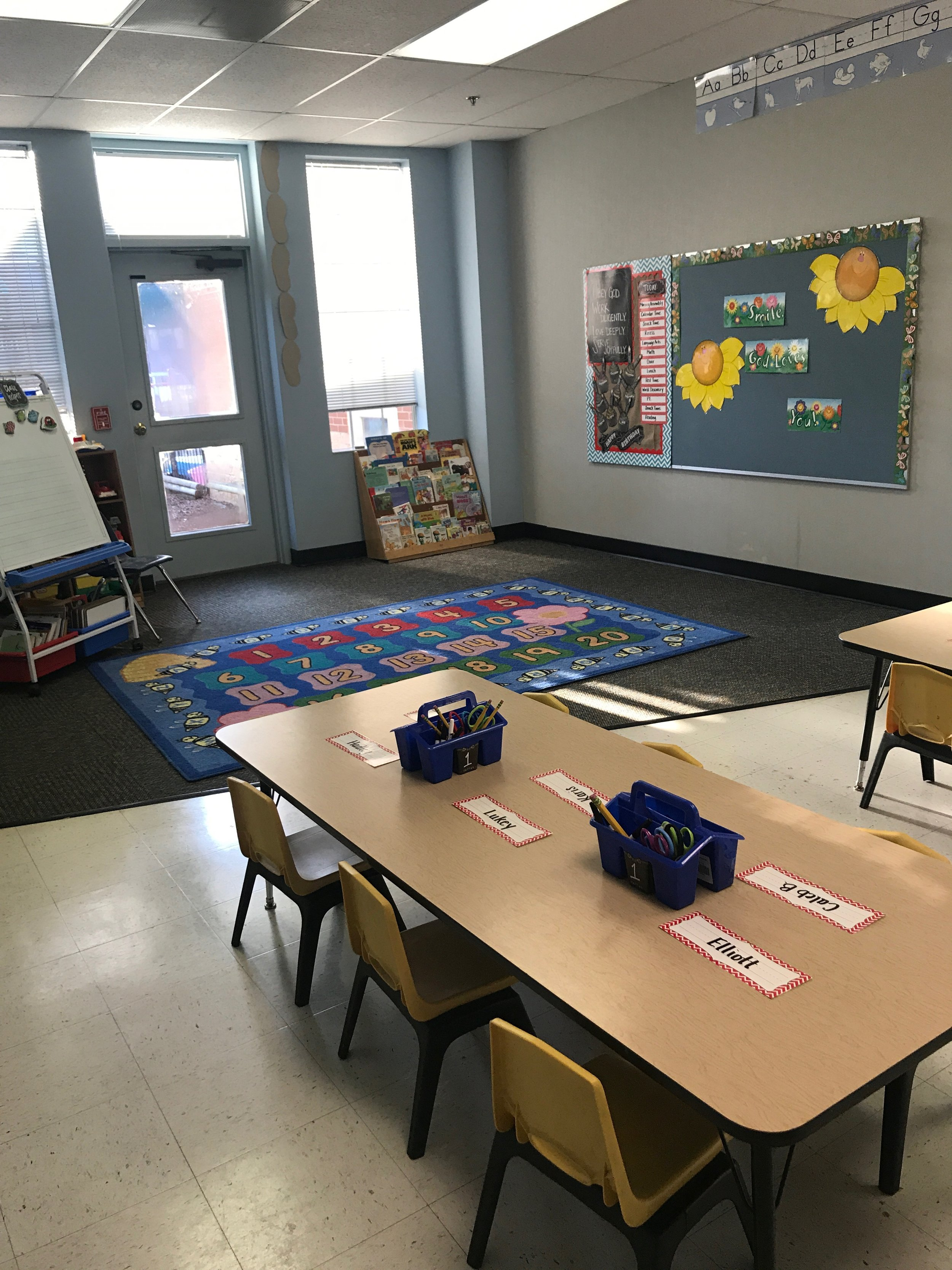 Here's my classroom with the little tiny chairs.