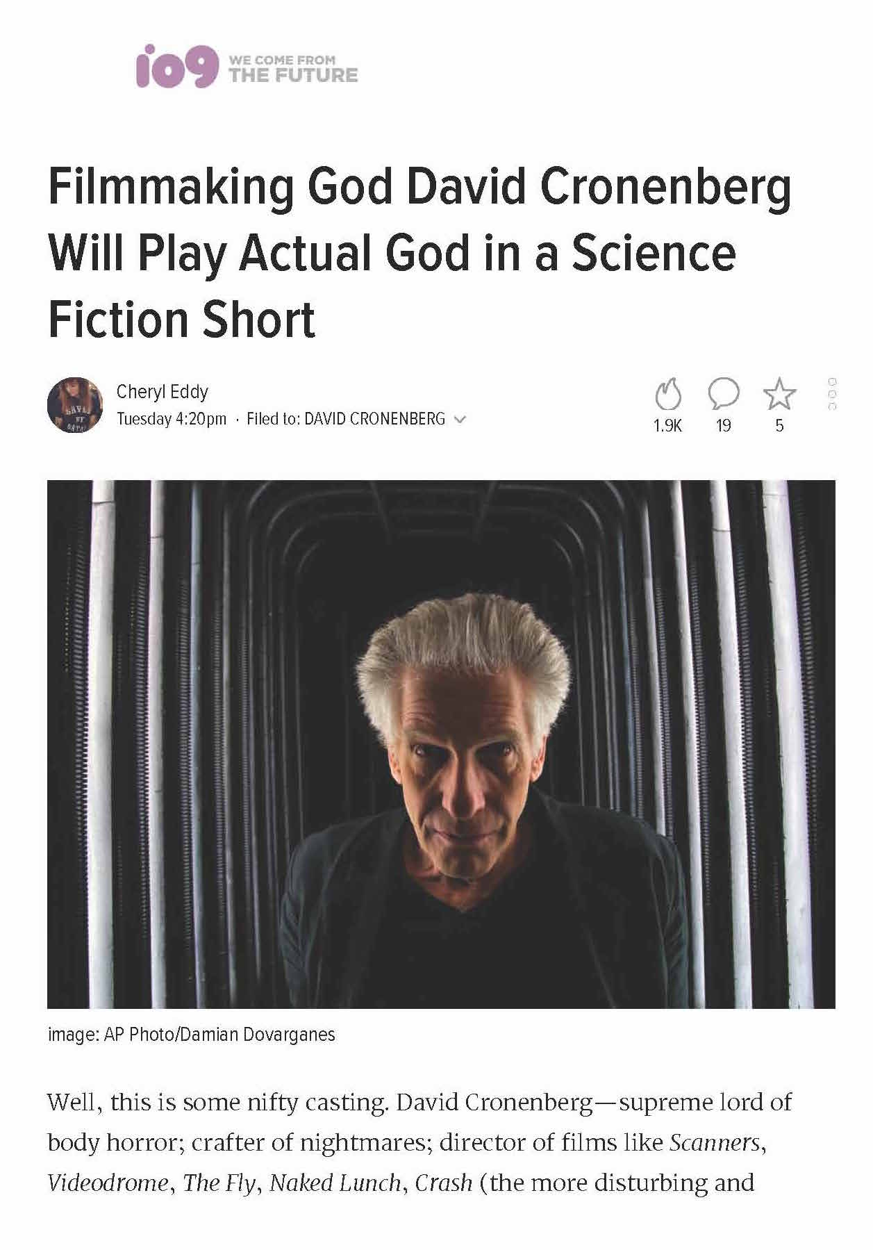 Filmmaking God David Cronenberg Will Play Actual God in a Science Fiction Short_Page_1.jpg