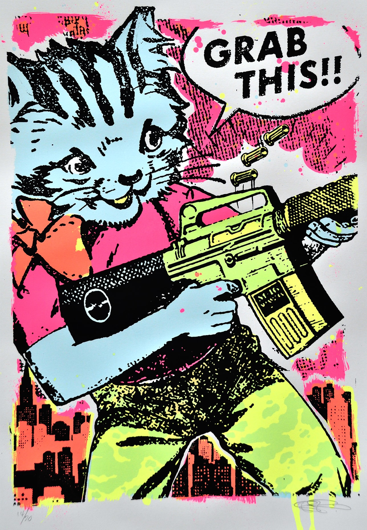 Ben Rider's bright fluorescent collaged style is instantly recognisable and delightful. The piece that we've been loving (along with the rest of his collection) has been 'Grab This' ( https://goo.gl/vMHsY2 ), featured at the Whitecross Street Party as a hand finished paste up. If cute kittens toting M16's are your thing then this is a printmaker for you. Ben's printing may look wild and whimsical, but behind the light hearted execution lies a very considered and seasoned printmaker who has painstakingly worked out his personal formula to exciting and dynamic printmaking, rich & ripe for enjoyment and interpretation. Recently he's been making some pretty amazing sculpture work which is well worth a look and will be very collectible. ( https://goo.gl/vWEGWj )  (follow Ben on instagram @zombiesqueegee)