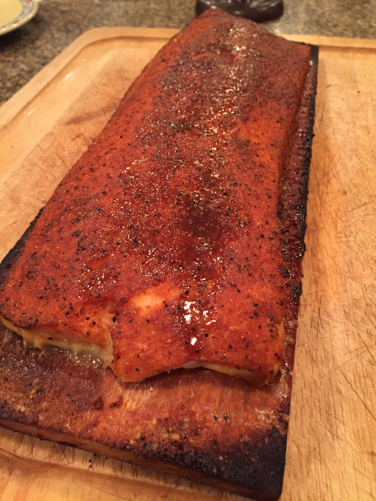 Brown sugar rub on salmon.