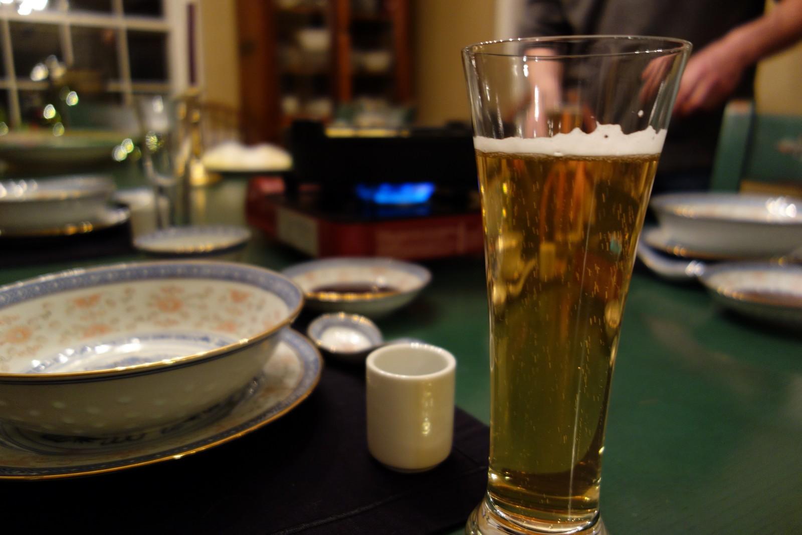 A good Japanese beer goes well with Shabu Shabu.
