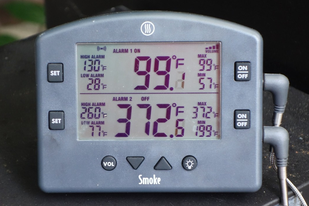 With a probe inserted into whatever I'm grilling or smoking. I know exactly what temperature my food is at. Also, an alarm goes off if the temperature reaches a pre-set number. A 2nd channel is available for monitoring grill temperature.