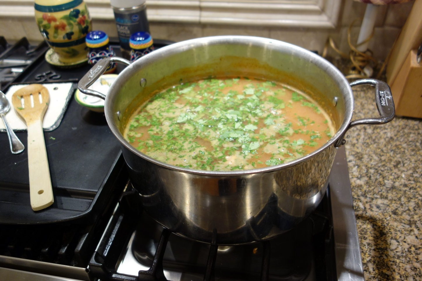 Finished soup, before garnishing with avocado.