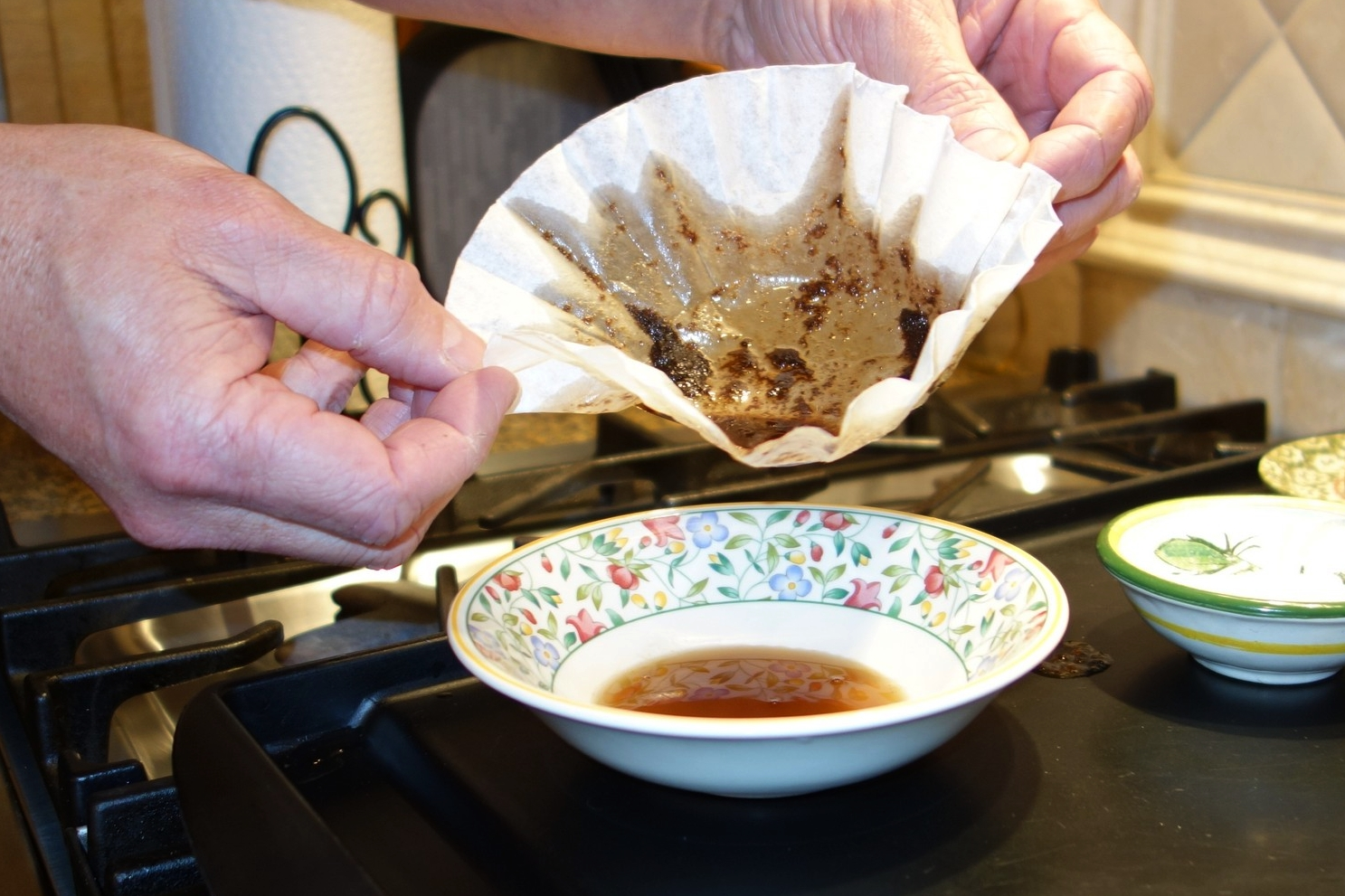 Strain the foam out by pouring the mixture through a coffee filter into a bowl. This will take a couple of minutes to get the clear brown butter through the filter.