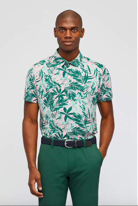 Pink Tropic Leaves Polo