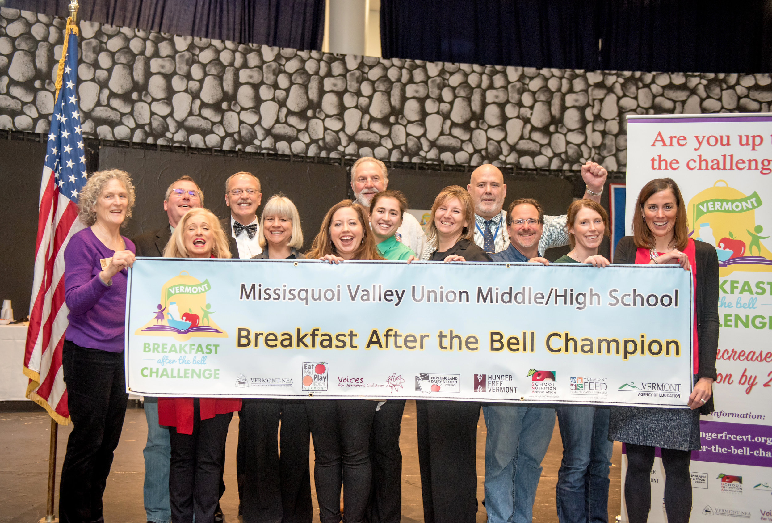 This photo is of the Round 2 top winner: Missisquoi Valley Union Middle/High School (MVU). After one year, they witnessed a 642% increase in breakfast participation. MVU offers universal (free) breakfast in the classroom to all students.