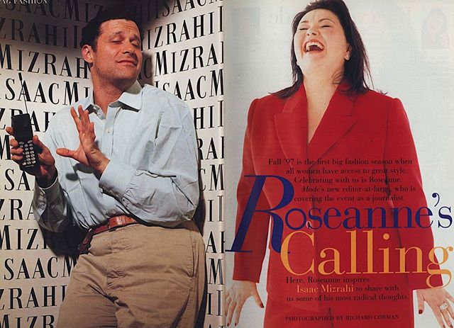 """It's sort of hard to believe now, but back in 1997 (the now cancelled) Roseanne Barr was something of a feminist fashion icon—at least to the smitten editors of the plus-size fashion magazine Mode. . In the fall 1997 issue, EIC A.G. Britton described Barr as less a """"tough-assed trailer-park sniper"""" than a """"female Buddha"""" who """"has beautiful feet and hands,"""" """"reads esoterica,"""" """"loves her stomach"""" and """"has a fashion editor's eye for style."""" . Perhaps more interestingly, in an accompanying interview with pal Isaac Mizrahi, the two talk about how there is something in the air—about how the industry seemed, at the time, to becoming more democratic and inclusive of more shapes and sizes. . Roseanne mentions a Nick Knight spread that featured a """"gloriously fat"""" model and Mizrahi talks about moving away from making special capsule collections for large women to making all of his designs for women with """"real bodies."""" They also make some interesting observations about shifts they noticed in the public's opinion of fat women in the age of heroin chic. . Maybe the 1990s was the forgotten heyday of plus-size fashion. . In the accompanying spread, Barr grins for the camera in a feather trimmed blazer, a custom red Isaac Mizrahi suit (in which she says she looks """"ravishing"""") and a kicky pair of brown gingham platform sandals. (For his part, Mizrahi holds a charmingly vintage cell phone.) . . . . #fatfashionhistory #fatfashion #fat #fatshion #fatshionista #plussizefashion #plussize #curve #curvy #magazine #fashionphotography #90s #1990s #90sfashion #1990sfashion #editorial #mode #historicalfatpeople #fashionhistory #fashionstudies #fashion #dresshistory #costumehistory #costumestudies #fashionwriting"""