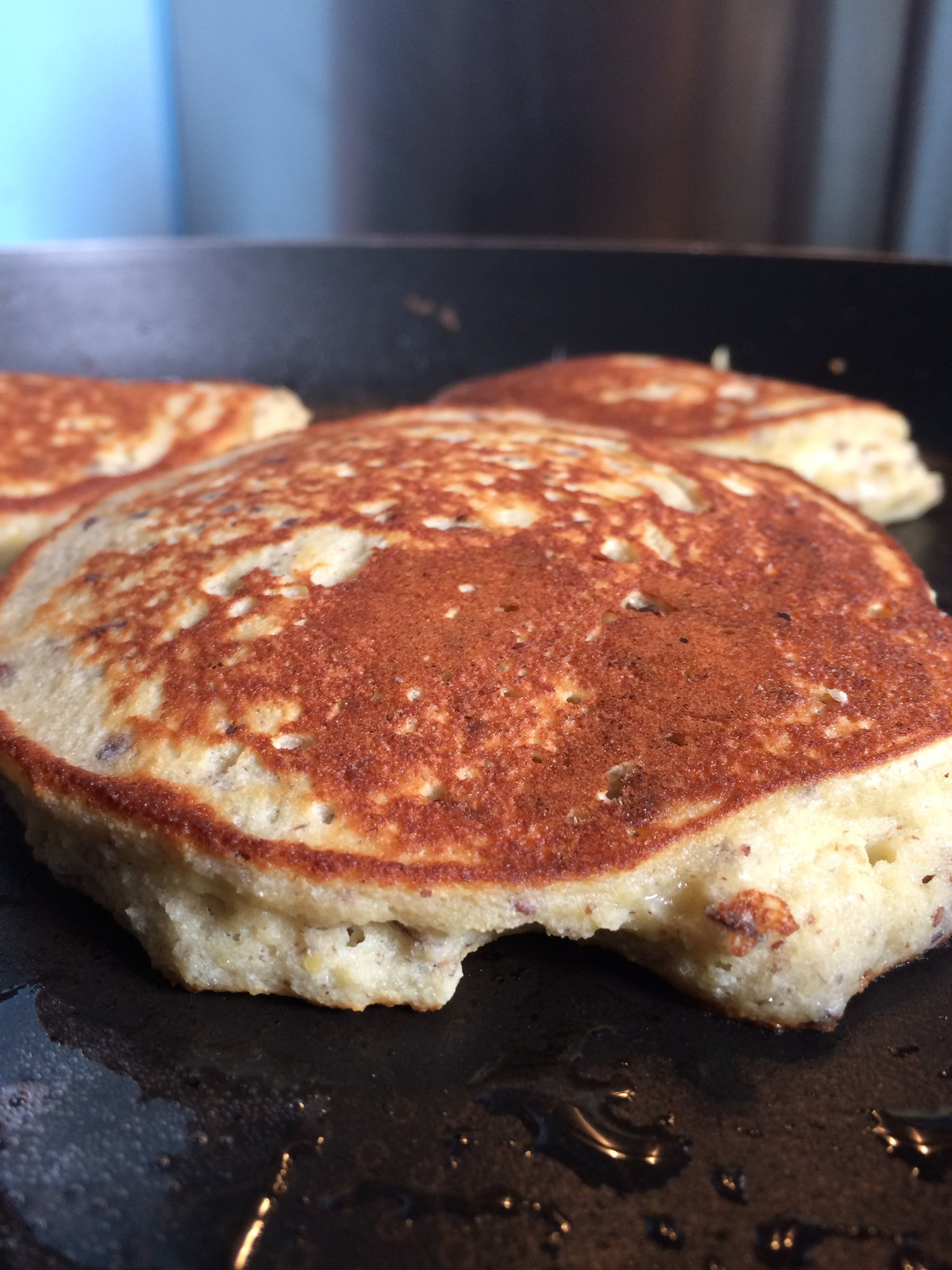 Buckwheat pancakes fluffing up nicely in the pan.