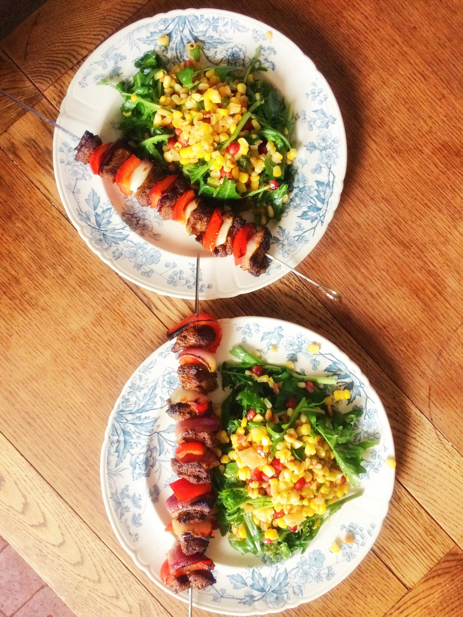 Sweetcorn and preserved lemon salad with lamb skewers - a fresh and filling meal from scratch in 20 mins!