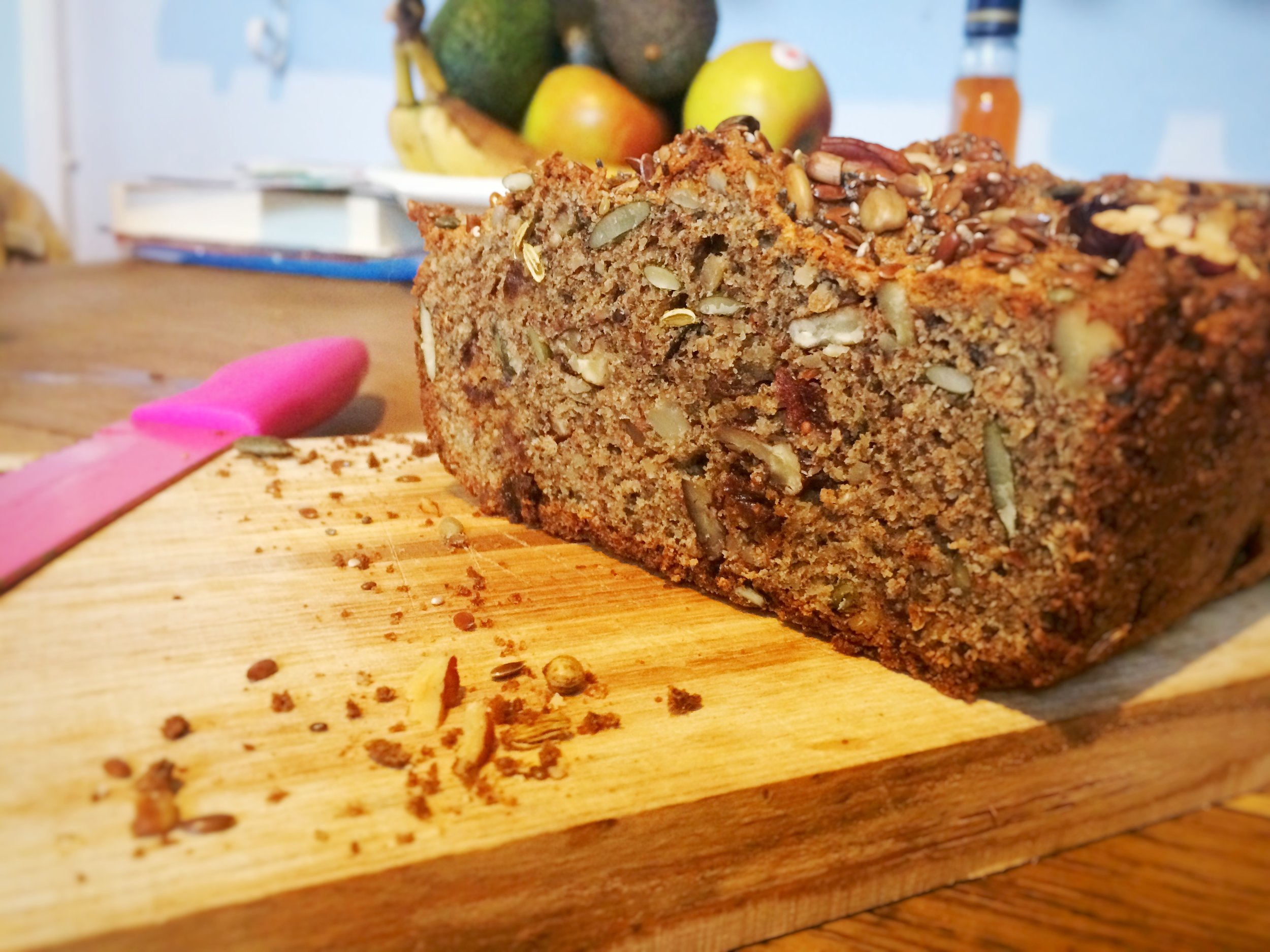 A delicious fruity loaf, paleo and grain free that goes with everything....butter, nut butter, eggs, cheese, pesto.....I could go on!