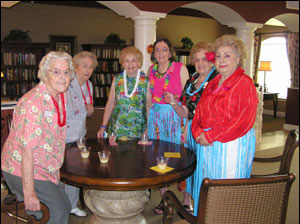 CHRISTUS St. Joseph Village residents are a rainbow of colors, while some were brave enough to sport the grass skirt at the Luau. September 2004
