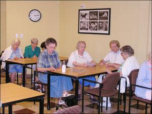CHRISTUS St. Joseph Village residents gather weekly for some serious Bingo.