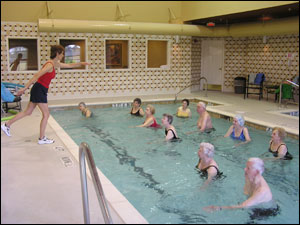 Residents stay fit year-round in the indoor pool with weekly water aerobics classes.
