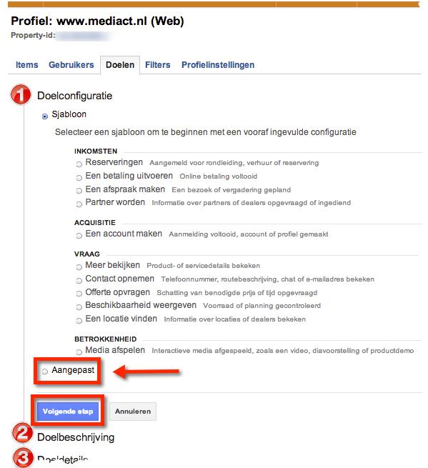 Google analytics doel instellen sjablonen