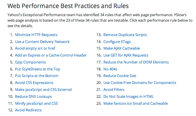 Web Performance Best Practices & Rules