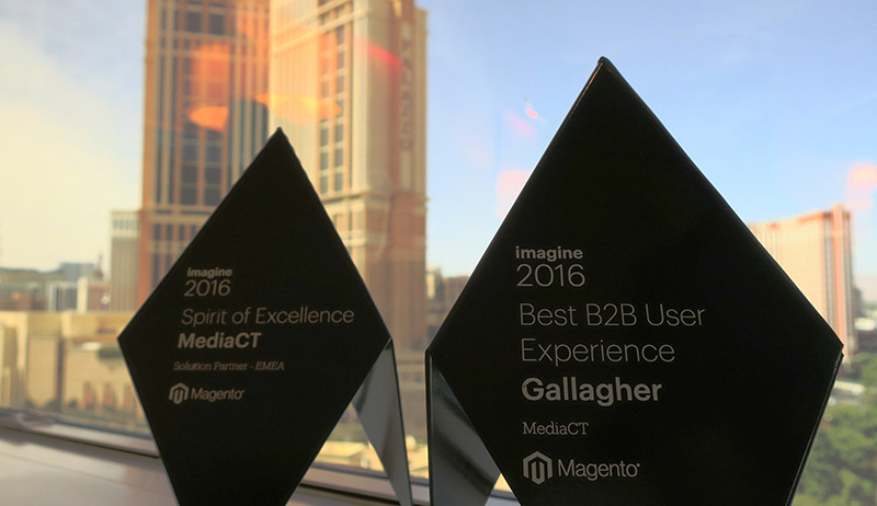 De 2 gewonnen awards: 'Best B2B User Experience' en 'Spirit of Excellence' 2016