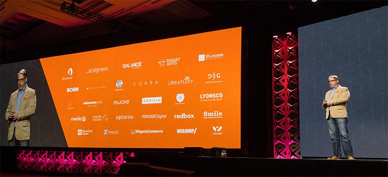 MediaCT werd in de keynote genoemd als een van de getrainde en gecertificeerde Magento Suite partners.