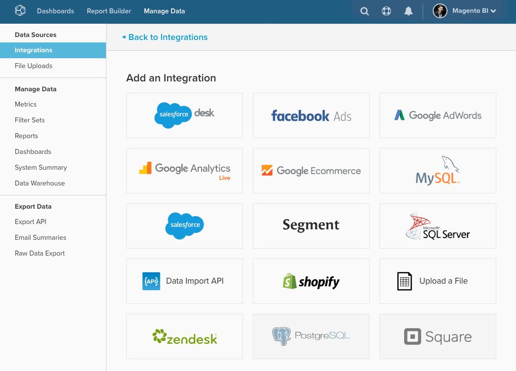 Er zijn vele integraties mogelijk om Magento BI mee te koppelen
