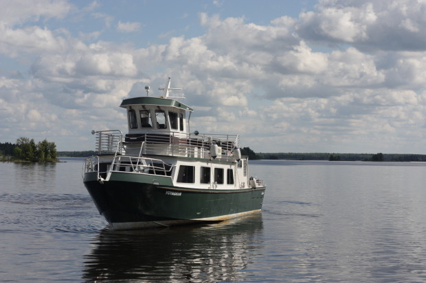 The Voyageur, the park's largest boat, docks at the Rainy Lake Visitor Center.  Kat Audette-Luebke