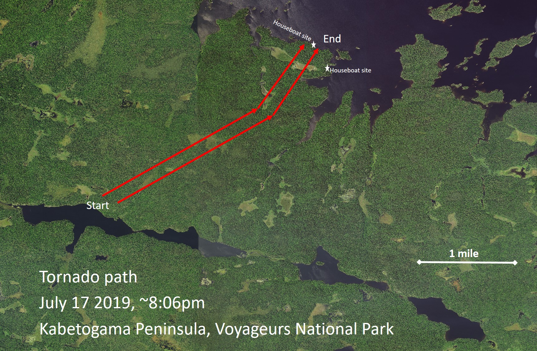 Map depicting estimated route of the tornado through the Kabetogama Peninsula, Voyageurs National Park (illustration by NPS staff).
