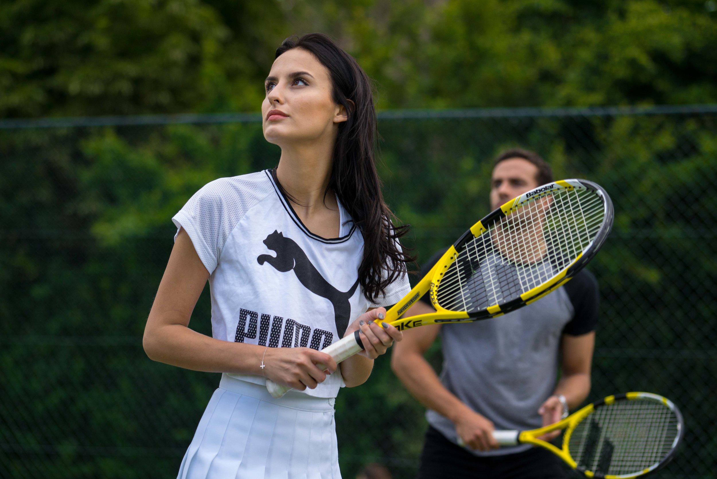 Lucy Watson x Puma Tennis - Lucy Watson tries tennis during The Championships, Wimbledon.