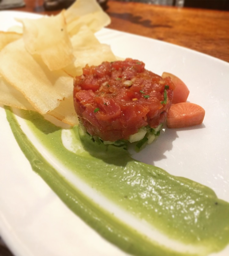 The Brasserie's fresh tuna tartare with cassava crisps