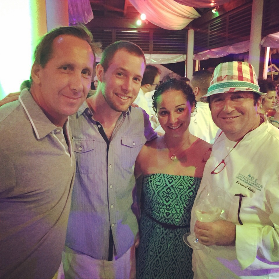 Cayman Cookout 2015 (from L–R) Chef Dean Max, Chef Thomas Tennant, Chelsea Smith & Chef Bernard Guillas