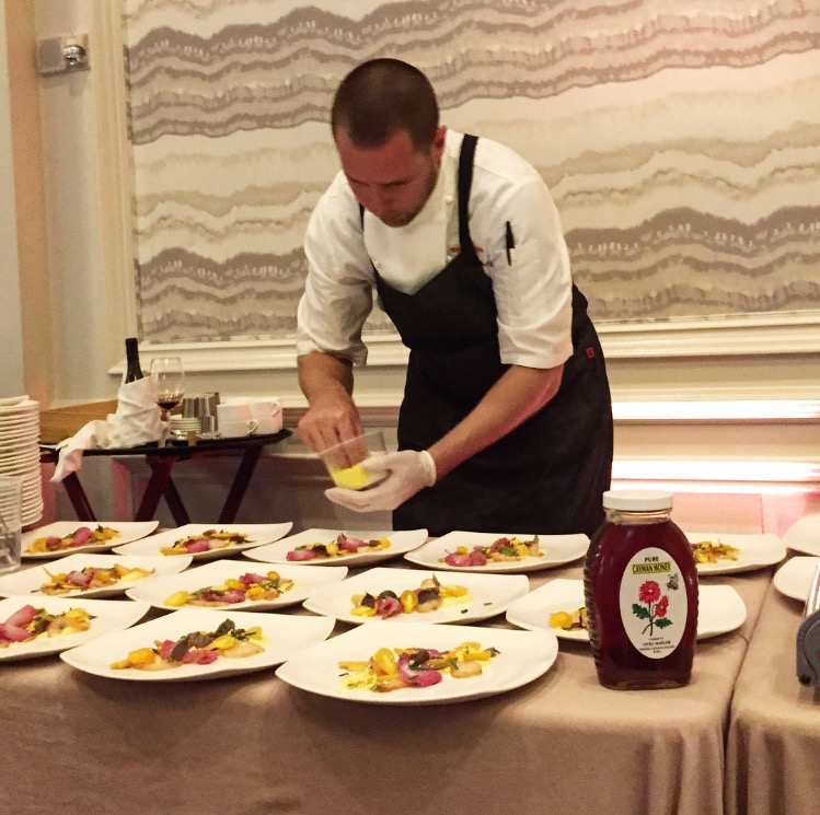 Chef Thomas Tennant of The Brasserie focused on plating at the 2015 'Out of the Kitchen and Ark of Taste' dinner