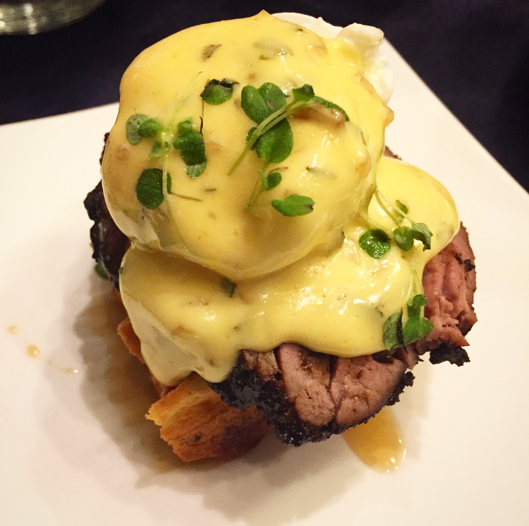 A take on eggs benny with steak & waffle *mind blown*