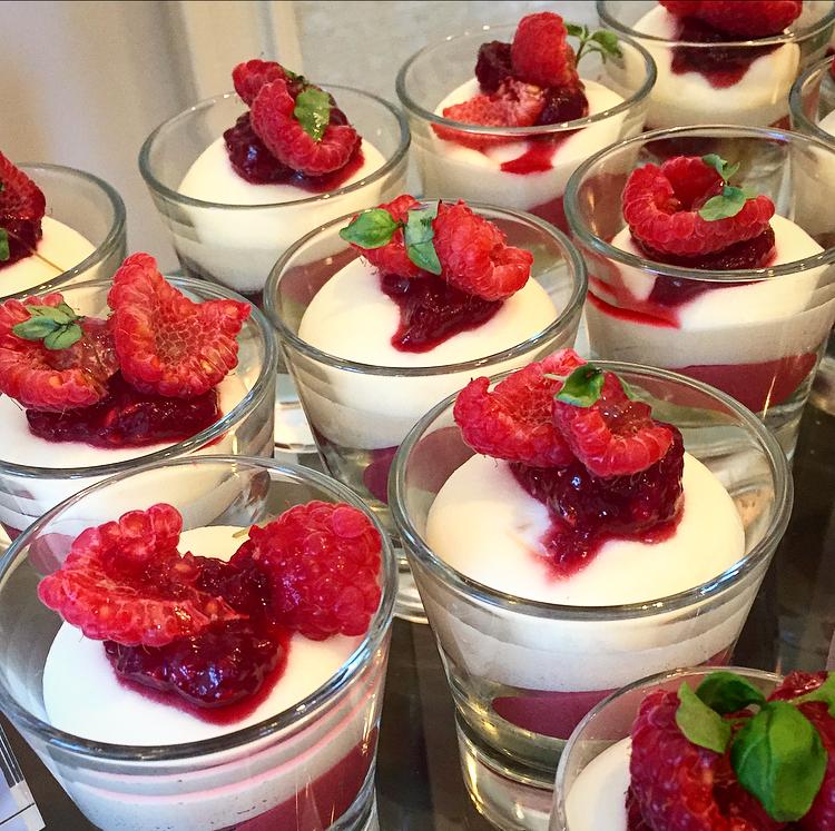 Luscious almond cake & raspberry cremeux