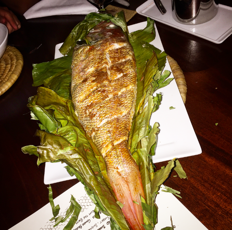 Silk eye snapper roasted in banana leaves