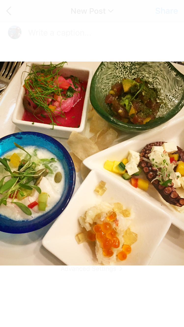 The deliciousness from Chef Bernard Guillas' station including my favourite dish on the left, scallop ceviche in coconut milk