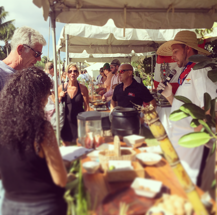 Anthony Bourdain chatting to Chef Thomas Tennant of The Brasserie about the invasive lionfish
