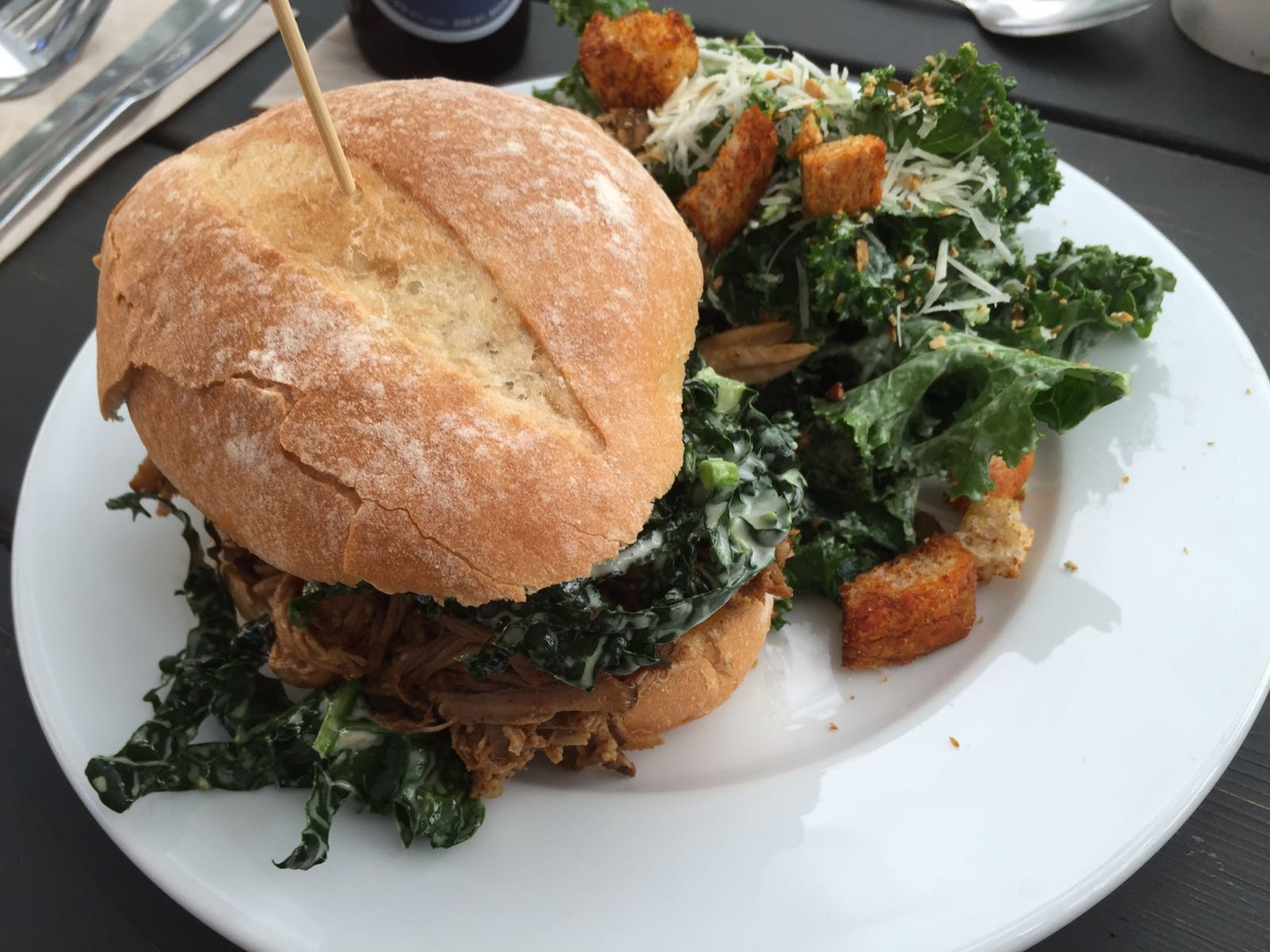 Pulled Pork Sandwich with Kale Caesar