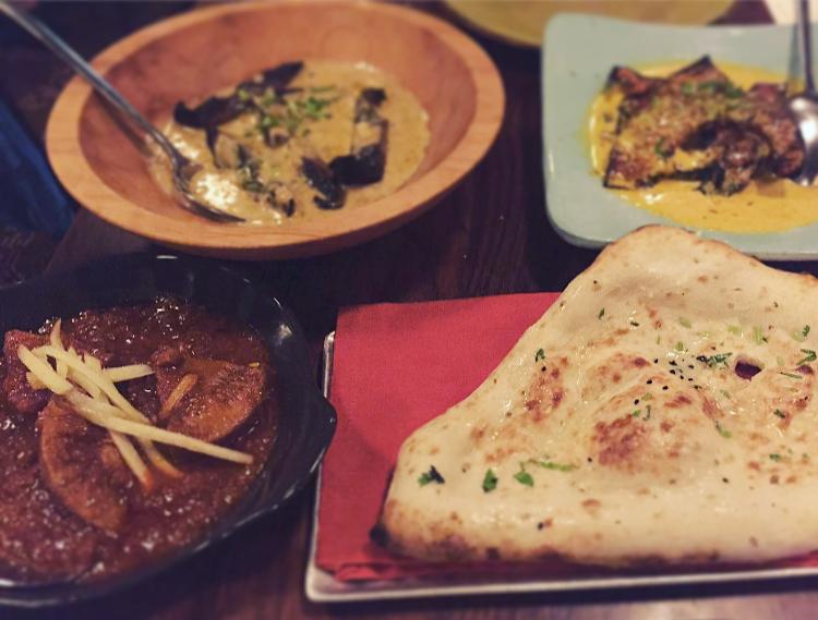 Naan, Jackfruit Curry, Portobello Mushroom Curry & Ghee Braised Squash