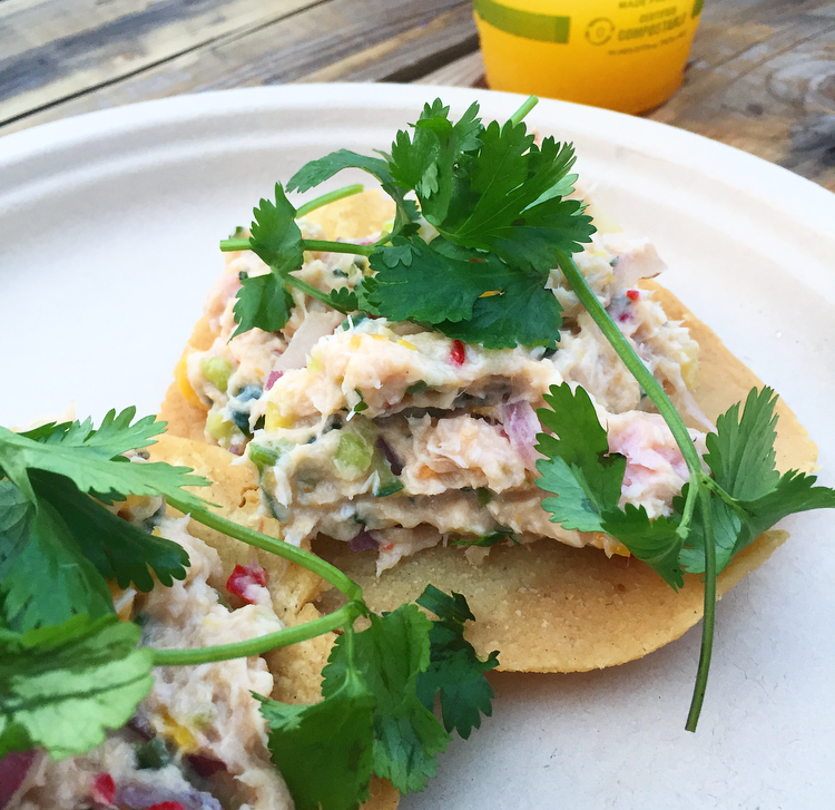 Smoked and chilled local swordfish tostadas