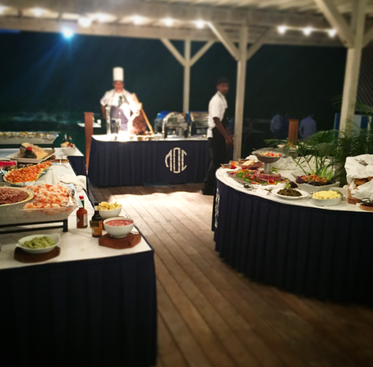 A glimpse of the phenomenal food stations that were available for the dinner at the wedding reception.