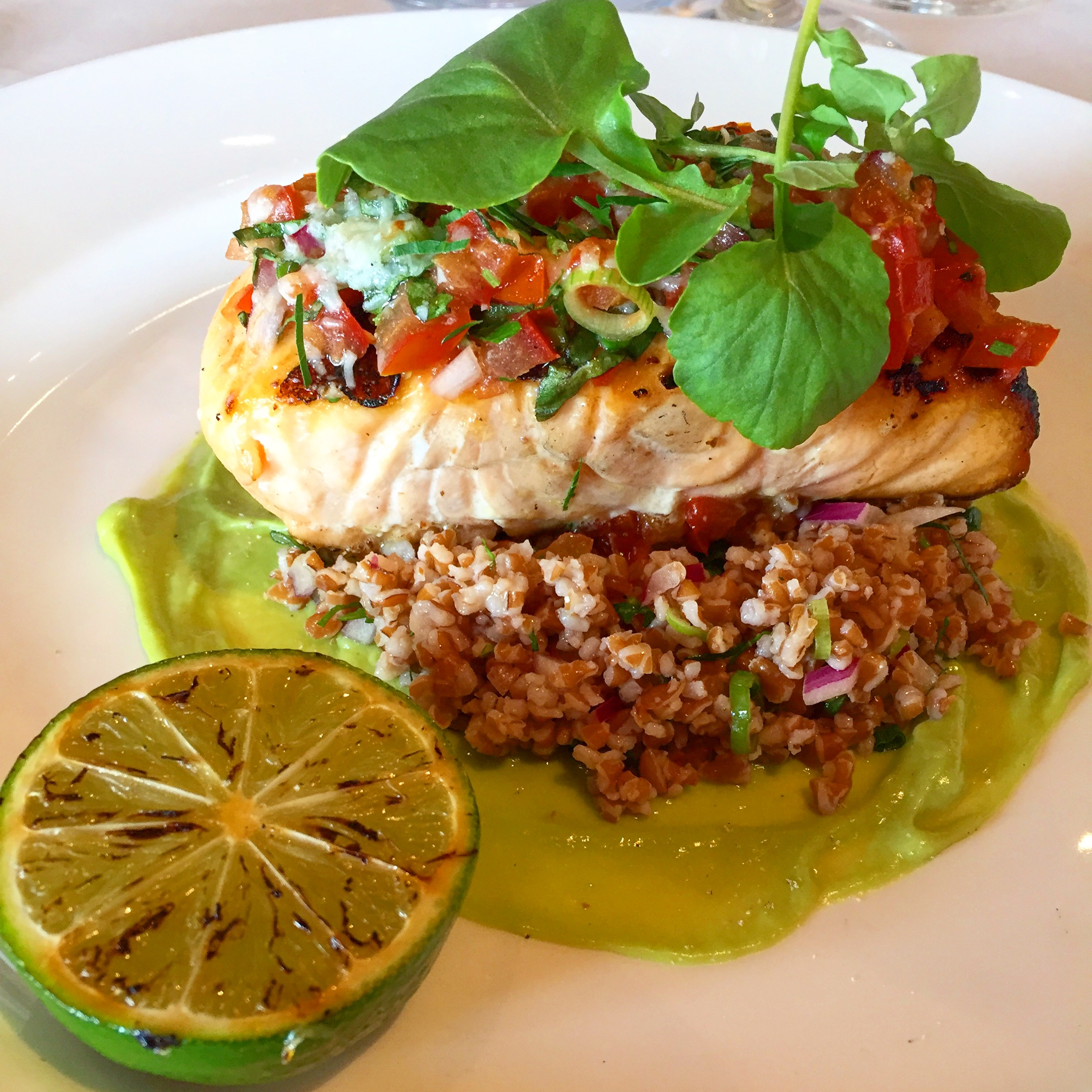The  Salmon  dish: a perfectly cooked fillet of salmon with a tomato and parmesan crust on a bed of bulgar wheat and smear of avocado.  This was one of my favourite and most interesting bites in Bermuda.