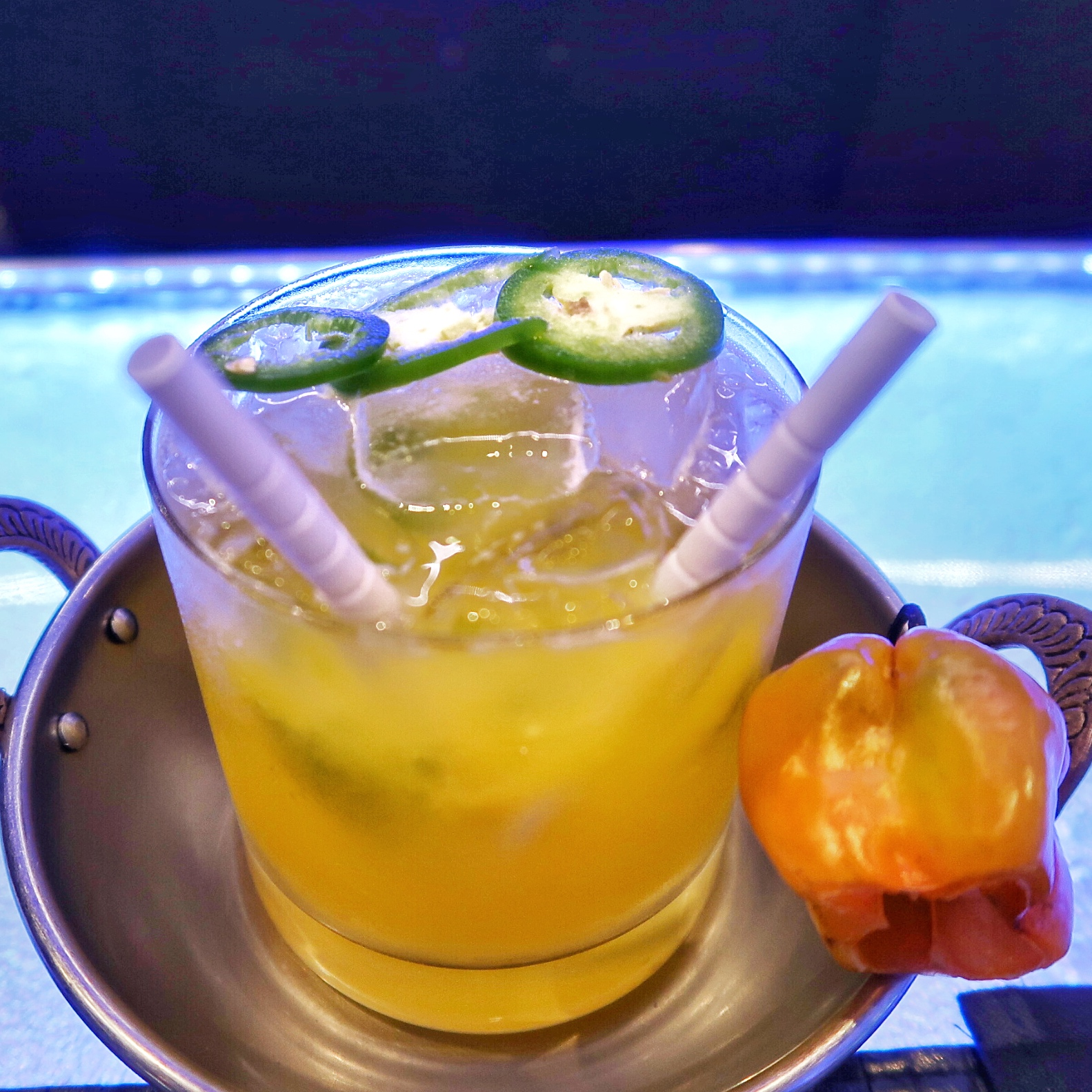 Spicy Mango Caipiroshka: vodka, mango, scotch bonnet syrup, lime