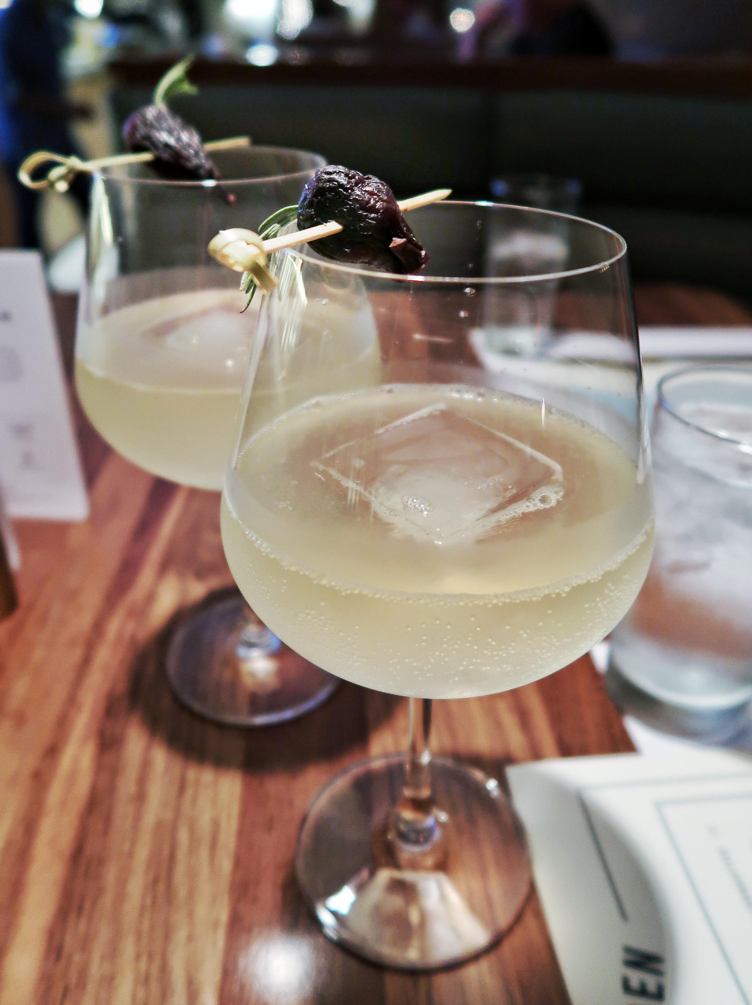 Bloomsbury Garden - Rosemary infused Tanqueray 10, black mission fig marmalade, St. Germain, lemon juice and elderflower tonic
