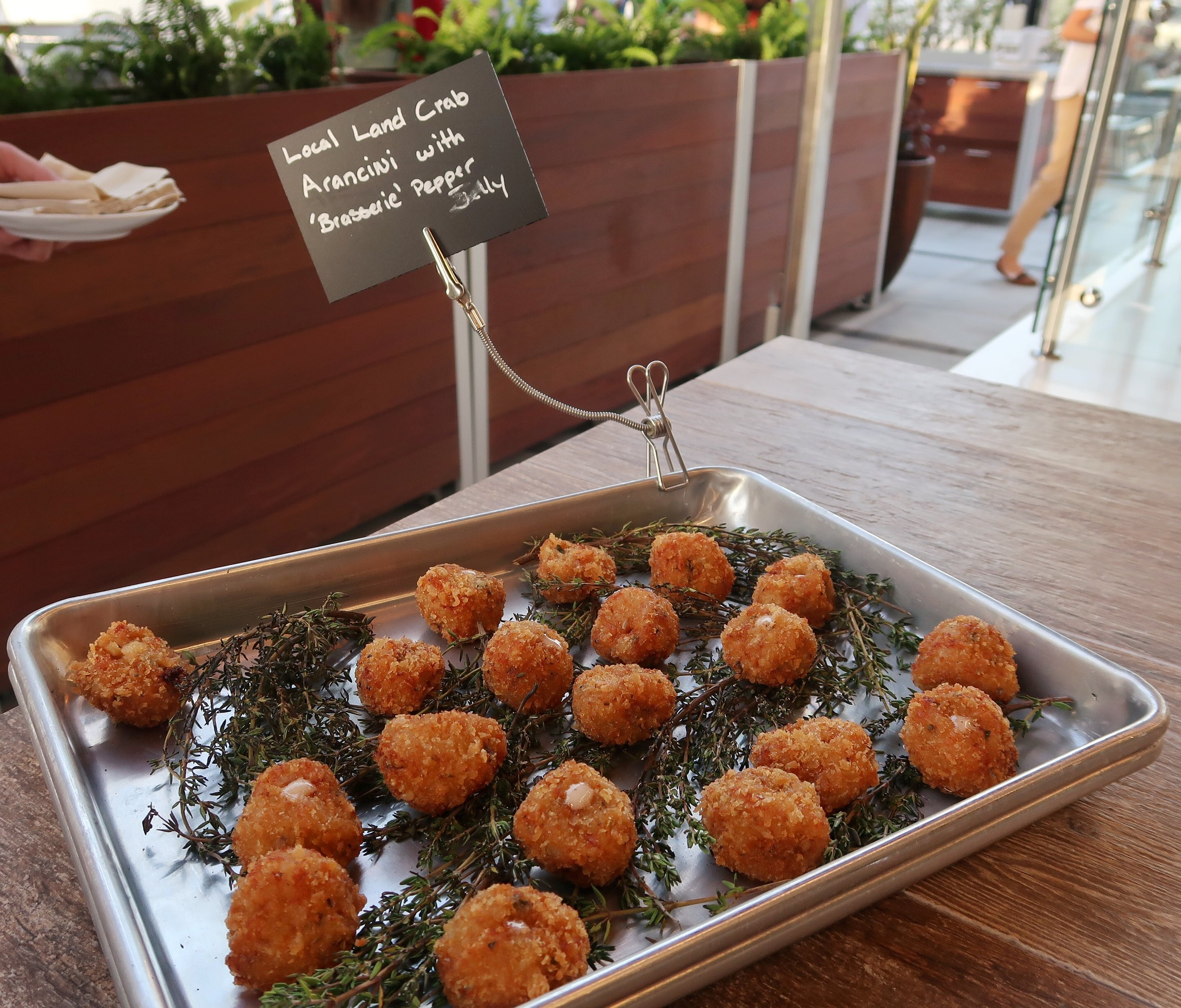 Local Land Crab Arancini infused with local pepper jelly