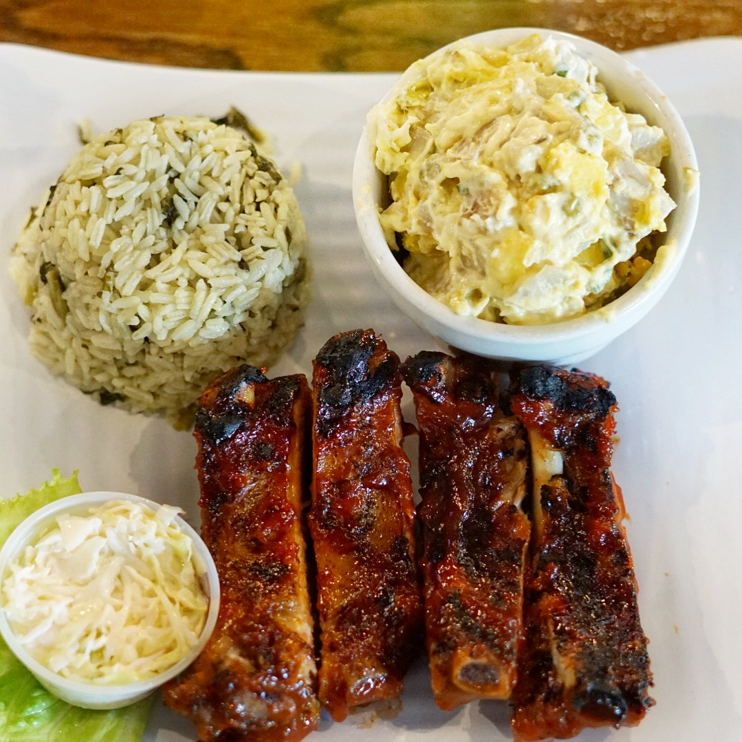 One of their most popular dishes is the Famous BBQ Baby Back Ribs. They literally fall off the bone and their homemade BBQ sauce is to die for. Served with your choice of sides, so I went with their callaloo rice and sweet potato salad.