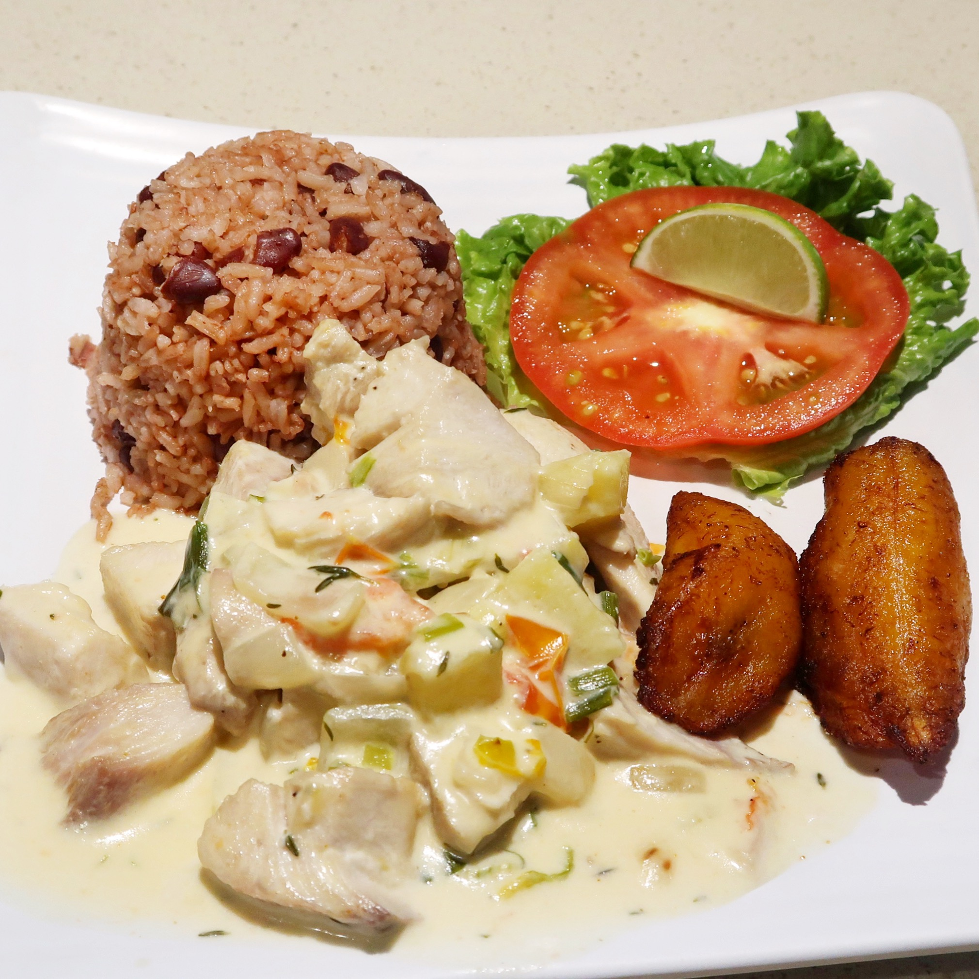 The Coconut Rundown is rich and saucy. Fresh mahi mahi is cooked down with veggies and coconut milk and served with your choice of sides. I think it goes well with their rice & beans and fried plantain.