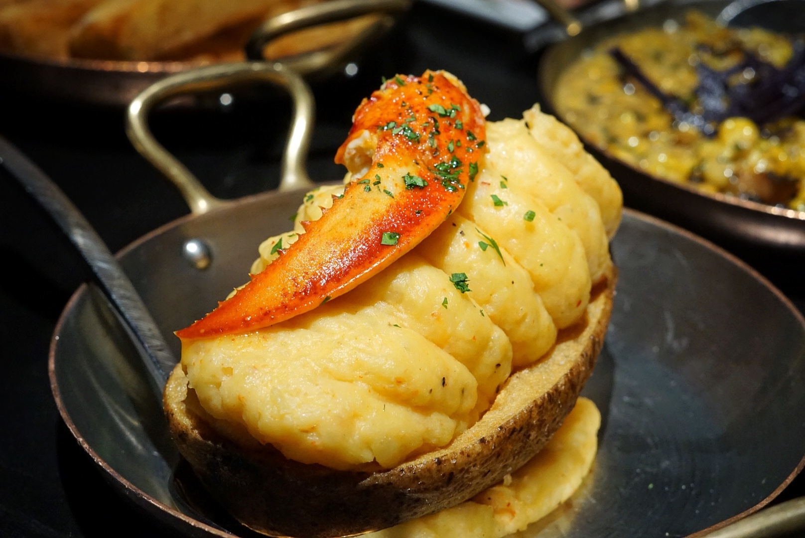 The most luxurious side dish you'll find on island is this Lobster & Truffle Twice Baked Potato.